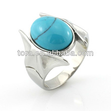 fashion silver plated turquoise rings for men