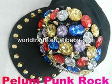 faux jewels,rivet,punk rock black shining hat,cap,celebrity fashion