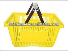 Double handle pink plastic laundry basket