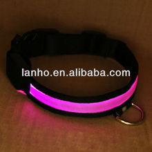 LED Flashing Lighting Safety Pet Dog Nylon Flat Collar Fashion M Pink