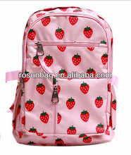 Cute backpack strawberry decorative pattern bag pink