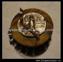 Antique Miniature Victorian French Brass Rosary Lourdes Bakelite Box