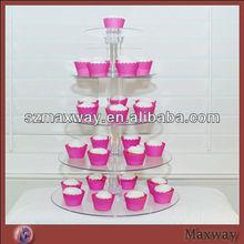 Modern crystal 5 tiers round wedding acrylic cupcake stand