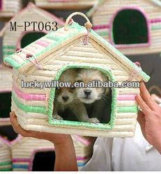 Beautiful coin husk woven pet carrier &house