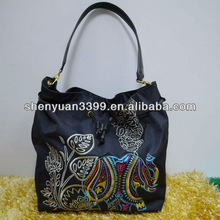 fashion Traditional Stylish pu Handbags & Tote Bags with handcraft flowers