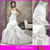 Taffeta Wedding Dress Trumpet Mermaid Sweetheart Ruched Ruffled Bridal Gowns with Handmade Flowers Floral