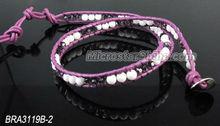 Jewelry gemstone bracelet bangle white jade with leather