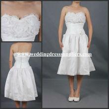ST058 Short Corset Knee Length Gown Sweetheart Ruffled Flower Bodice White Wedding Dress In Stock