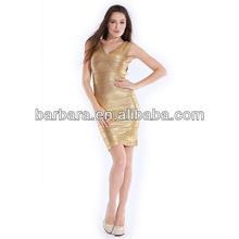 Barbara gold printing model evening dress outlet bandage dress