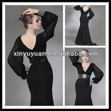 Black Deep V-neck Chiffon Long Sleeves Mermaid Evening Dress/ Formal Dress With Beaded Slash XYY-k22