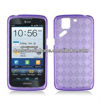 For Pantech Flex P8010 crystal skin case purple checker