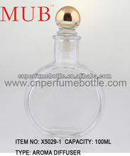 Clear Polishing Glass Bottles With Round Gold Cap For Incense Oil