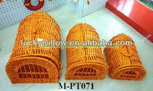 3 pcs set wicker pet cage &carrier