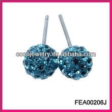 2013 fashion blue crystal ball and bone earrings for girl