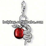 Fashion eco-friendly alloy silver plated animal charm, snake and apple key chain handbag charm