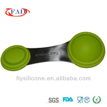 2.5ml,5ml,7.5ml,10ml flexible silicone unique measuring spoons for dinner water etc. with FDA&SGS standard