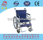 L14-I Stainless steel folding wheel chair with two wheels and two castors