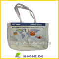 mapa del mundo de impresión de bolsas de lona