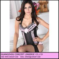Sexy black pink lace trim satin halter corset
