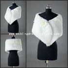 PJ004 Newest 2013 Ivory With Flower Lace Edge Feather Wedding Bridal Wrap Jacket