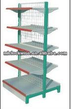 steel supermarket shelf with metal net backboard