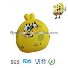 cute cartoon image mini silicone bag for shopping, silicone coin bag/purse/wallet