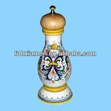 Italian vintage hand painted ceramic pepper mill