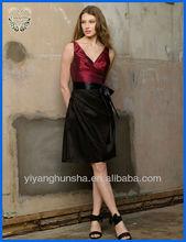 Gem Double V-neck Knee Length Taffeta Bridesmaid Dress
