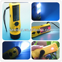 8 in 1 Solar flashlight with hand crank dynamo generator with mobile charger radio