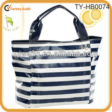 Blue and white stripes large travel tote