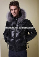 Warm Men's Black Cotton/Down Coat