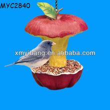 Apple shaped garden decoration resin bird feeder