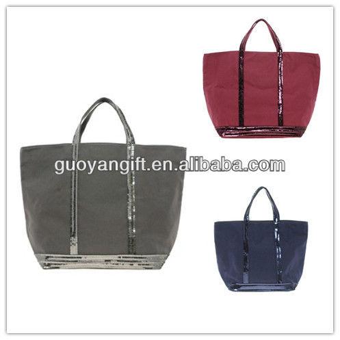 2013 hot large cotton canvas Sequin Shopper Bag