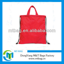 red color drawstring closure polyester fold up tote bag