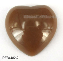 Solid coffee 20mm resin lucite beads heart cabochon