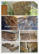rusty slate siding ledgestone, corner cultured stone tv background stone wall cladding tile panel in villa,