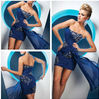 Sexy Sweetheart tight Above knee length blue embroidery and beaded cocktail dress