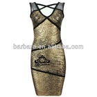 Barbara gold printing boob tube evening dress in promotion for Christmas!