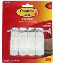 Command plastic Damage-free Re-use/Removes designer coat hooks(Four hooks+Six strips=economy packing) (Weight capacity:1.36KG)