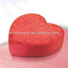 red silk ribbon knitting design heart shape box wedding box
