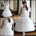 G083 robe nuptiale intéressante de fille de fleur de la princesse White Floral Tulle