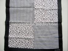 2012 newest fashionable Black box with leopard grain design 100%cotton bandana