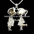Crystal Rhinestone Necklace Boy Girl Kiss