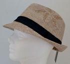 New Designer Beige White Straw Fedora Bucket Cap Hat Black Band Trilby