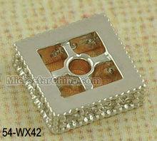 Rectangle platinum jewelry brass beads with zircon beads