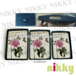 Best seller wooden salver S/3, salver tray with flower design, China salver wholesale