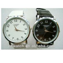 High Quality Big Black White Round Case, leather strap but stainless steel case japan quartz watches men, watches men 2012-2013