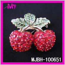 wholesale cherry shaped rhinestone fruit brooch