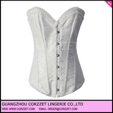White cotton cheap steel boned corsets