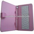 De cuero de color rosa tablet pc funda para tablet pc de 7 pulgadas plegable estilo folio con multi- teclado delidioma